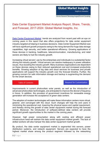 Data Center Equipment Market Innovation Trends and Current Business Trends by 2024