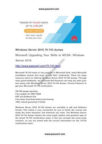 Windows Server 2016 70-743 dumps