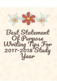 The Best Statement of Purpose Writing Tips for 2017-2018 Study Year