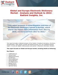 Global and Europe Electronic Dictionary Market - Analysis and Outlook to 2022- Radiant Insights