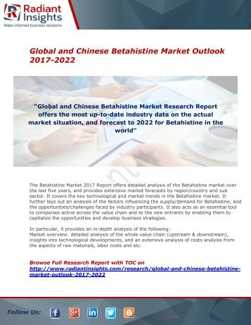 Betahistine Market Share,Growth and Forecast Report 2017 : Radiant Insights,Inc