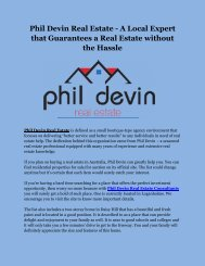 Phil Devin Real Estate - A Local Expert that Guarantees a Real Estate without the Hassle