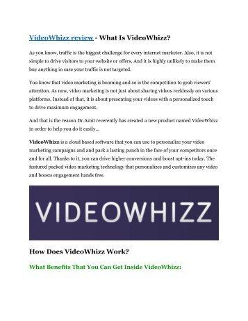 VideoWhizz Review-(Free) bonus and discount
