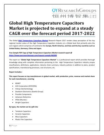 Global High Temperature Capacitors Market is projected to expand at a steady CAGR over the forecast period 2017-2022