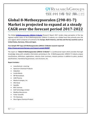 Global 8-Methoxypsoralen (298-81-7) Market is projected to expand at a steady CAGR over the forecast period 2017-2022