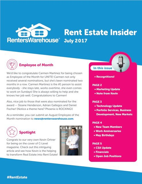 July Rent Estate Insider