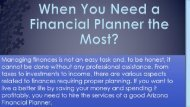 When You Need a Financial Planner the Most