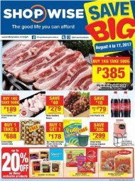 SHOPWISE GROCERY CATALOG ends August 17, 2017