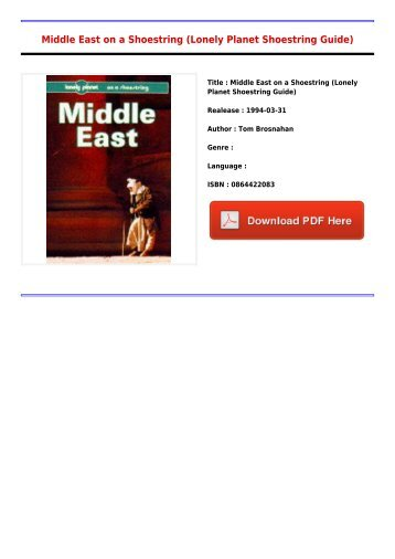 Best Middle East on a Shoestring Lonely Planet Shoestring Guide Full Collection 2017