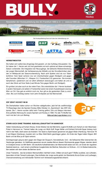 Bully Newsletter November 2010 - SC Frankfurt 1880 eV