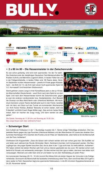 Bully Newsletter Oktober 2012 - SC Frankfurt 1880 eV