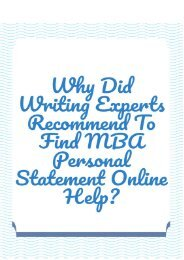 Why Did Writing Experts Recommend to Find MBA Personal Statement Online Help?