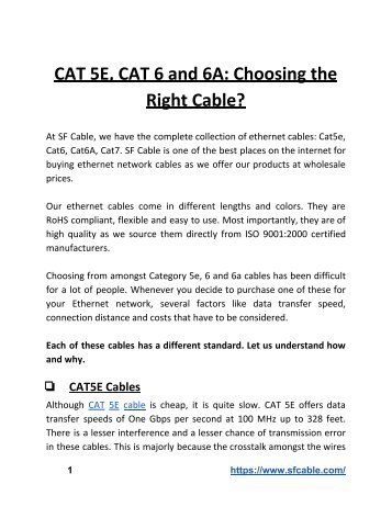 CAT 5E, CAT 6 and 6A: Choosing the Right Ethnernet Network Cable?