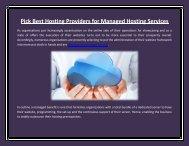 Pick Best Hosting Providers for Managed Hosting Services