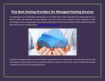 Pick Best Hosting Providers for Managed Hosting Services