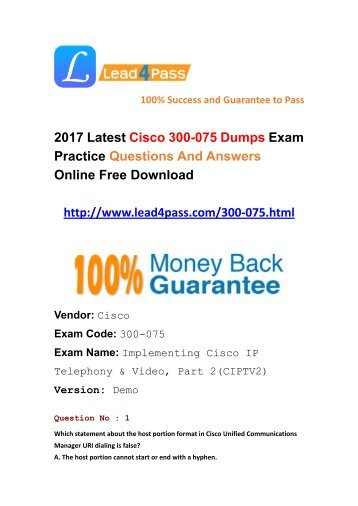 Lead4pass Latest Cisco 300-075 Dumps PDF Materials