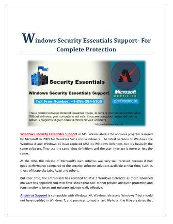 Windows Security Essentials Support +1-855-284-5355