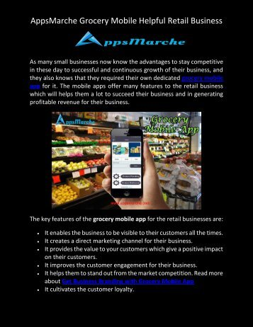 AppsMarche Grocery Mobile Helpful Retail Business