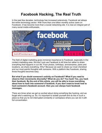 Facebook Hacking - The Real Truth