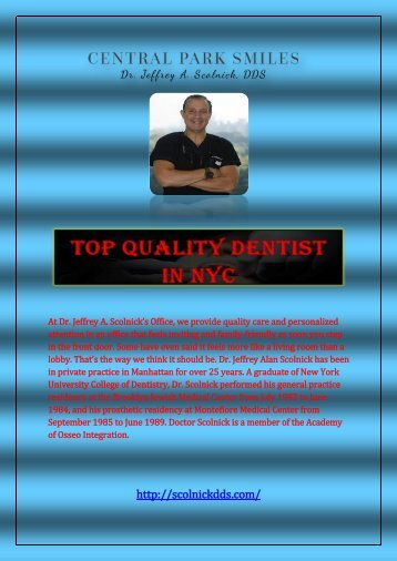 Top Quality Dentist in NYC - Jeffrey A. Scolnick