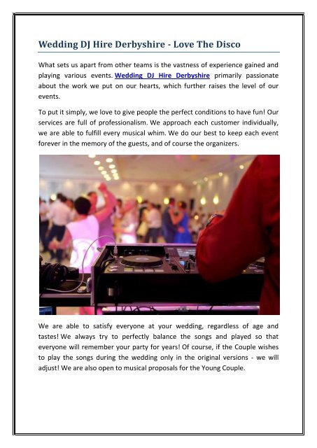 Wedding DJ Hire Derbyshire