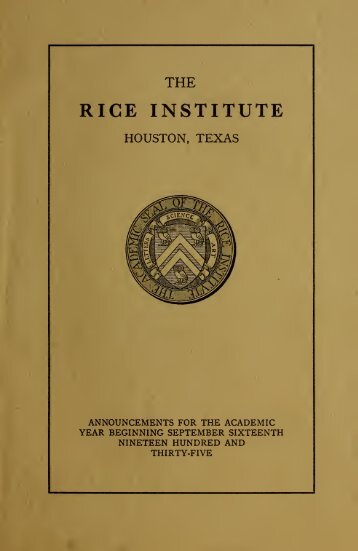 Rice University General announcements - Rice Scholarship Home ...