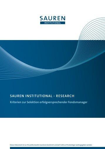 SAUREN INSTITUTIONAL - RESEARch Kriterien zur Selektion ...