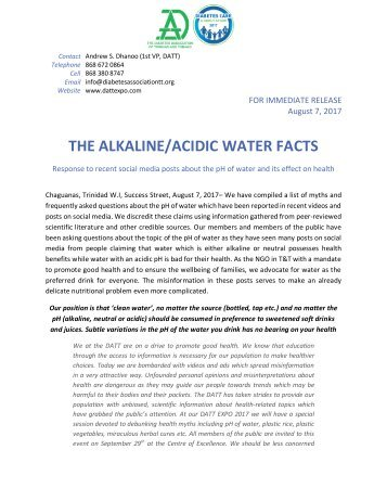 Press Release_ DATT comment on the Facts about pH and water.07.08.17