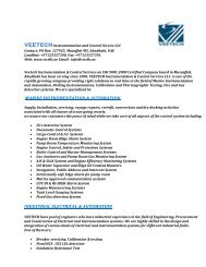 Company Introduction - VEETECH INSTRUMENTATION & CONTROL SERVICE LLC