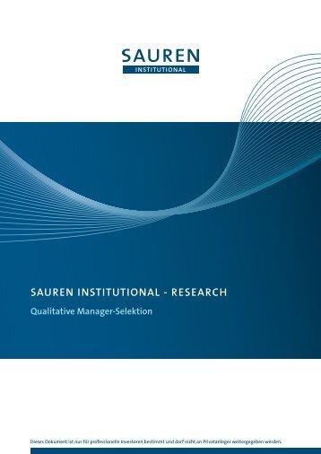 SAUREN INSTITUTIONAL - RESEARch Qualitative Manager ...