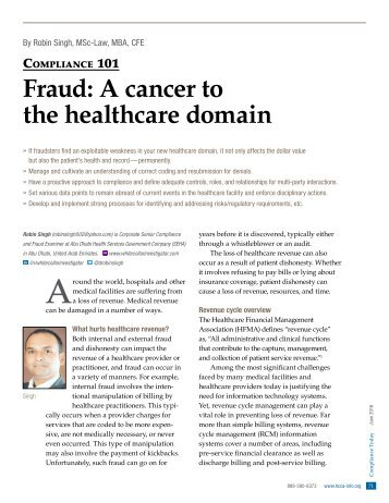 Fraud A Cancer to healthcare