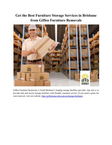 Get the Best Furniture Storage Services in Brisbane from Giffen Furniture Removals