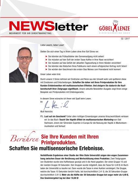 Göbel+Lenze Newsletter Ausgabe 02/2017