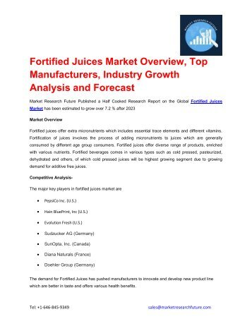 Fortified Juices Market outlook 2017-2023 explored in latest research