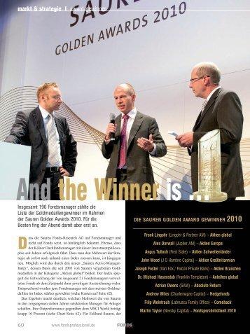 """FONDS professionell: """"Die Sauren Golden Award Gewinner 2010"""