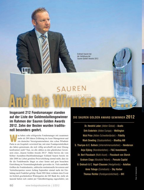 """FONDS professionell: """"And the Winners are ..."""" - Sauren"""