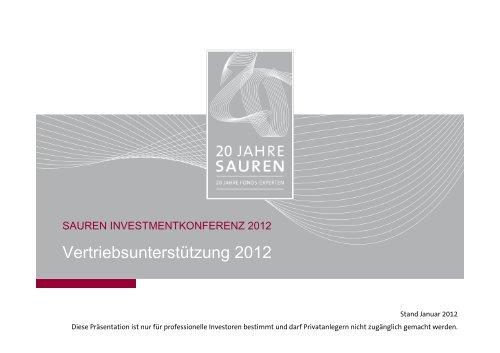 """Präsentation: """"Vertriebsunterstützung 2012"""" - Sauren"""
