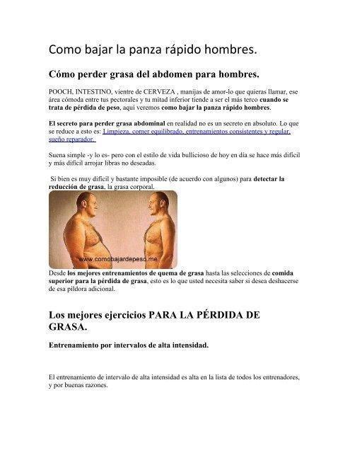 Ejercicios para bajar grasa abdominal hombres