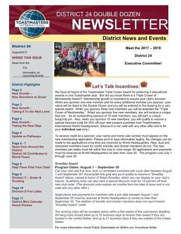 August 2017 Toastmasters District 24 Double Dozen Newsletter