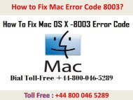 How to Fix Mac Error Code 8003? Call +44-800-046-5289