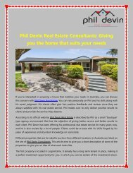 Phil Devin Real Estate Consultants: Giving you the home that suits your needs