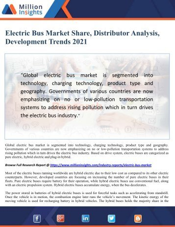 Electric Bus Market Share, Distributor Analysis, Development Trends 2021