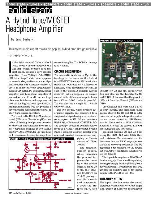 A hybrid tube MOSFET headphone amp