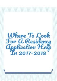 Where to Look for a Residency Application Help in 2017-2018?