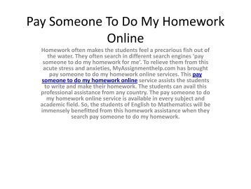 Pay Someone To Do My Homework Online