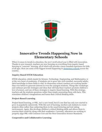 Innovative Trends Happening Now in Elementary Schools