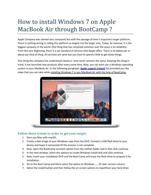 how to install bootcamp