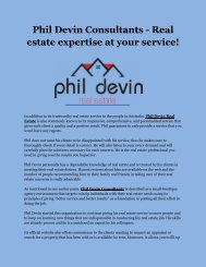 Phil Devin Consultants - Real estate expertise at your service!