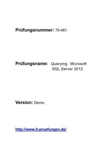 Prüfungsvorbereitung SQL Server 2012 70-461