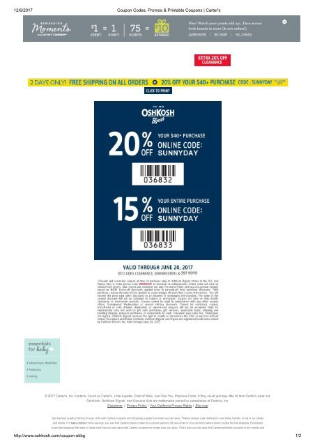 Coupon Codes Promos Amp Printable Coupons Carter 039 S